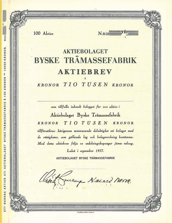 Byske Trämassefabrik, AB, 10 000 kr