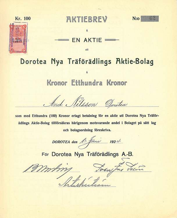 Dorotea Nya Träförädlings AB, 1924