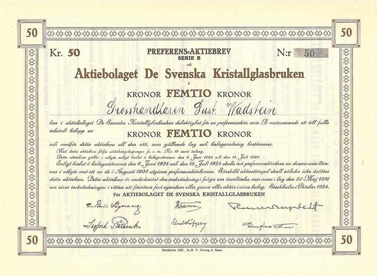 De Svenska Kristallglasbruken AB, 50 kr
