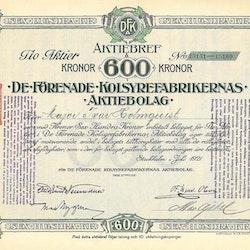De Förenade Kolsyrefabrikernas AB, 1921