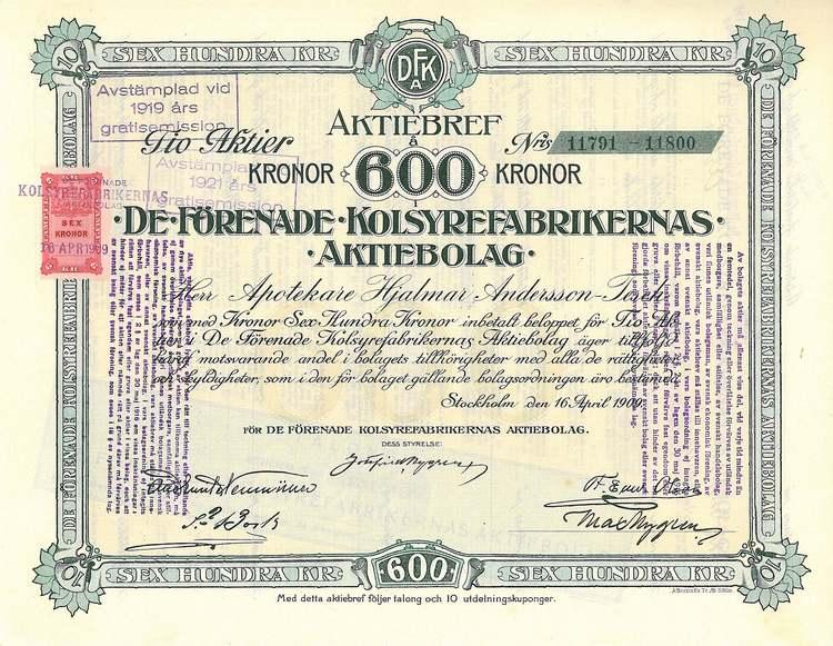 De Förenade Kolsyrefabrikernas AB, 1909