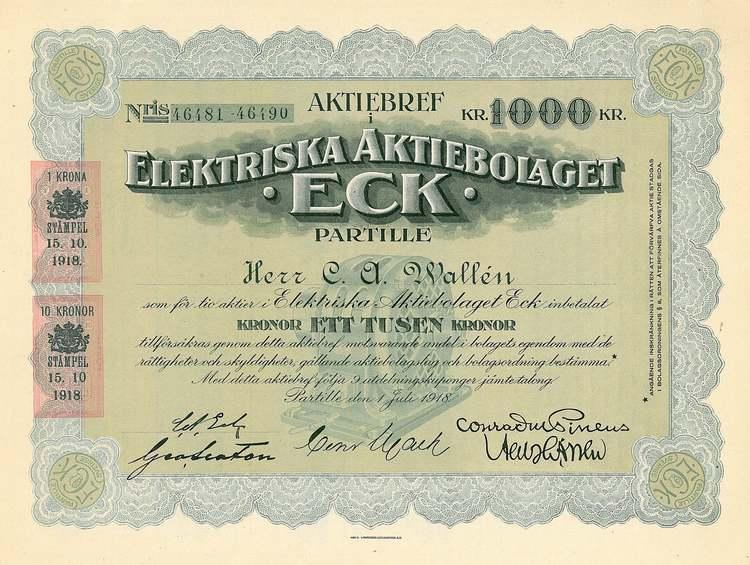 Elektriska AB Eck, 1000 kr