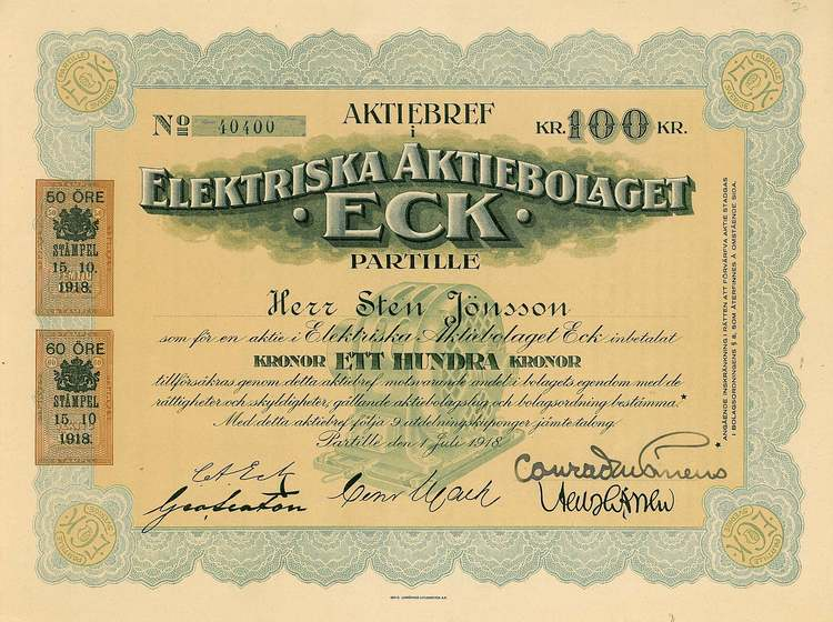 Elektriska AB Eck, 100 kr