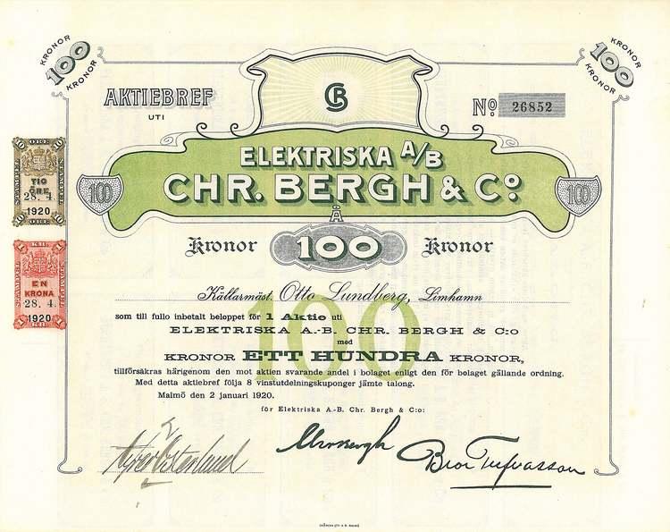 Elektriska AB Chr.Bergh & Co, 100 kr