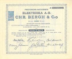 Elektriska AB Chr.Bergh & Co, 10.000 kr