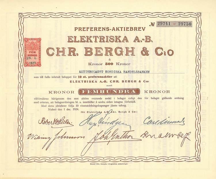 Elektriska AB Chr.Bergh & Co, 500 kr