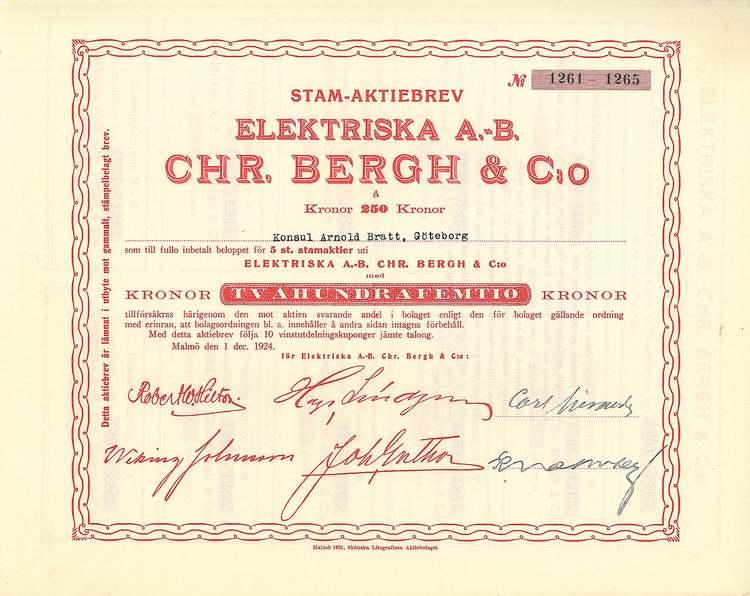 Elektriska AB Chr. Bergh & Co, 50 kr