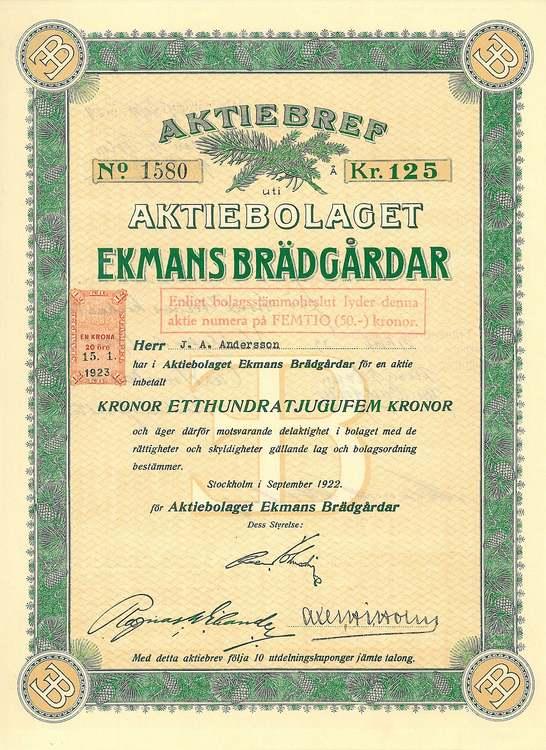 Ekmans Brädgårdar, AB, 100 kr