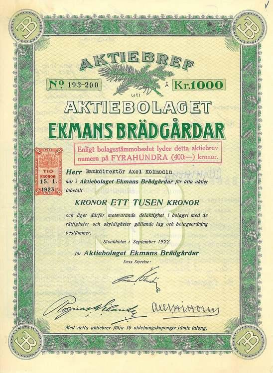 Ekmans Brädgårdar, AB, 1000 kr