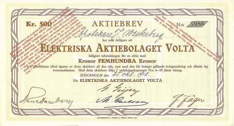 Elektriska AB Volta, 1918