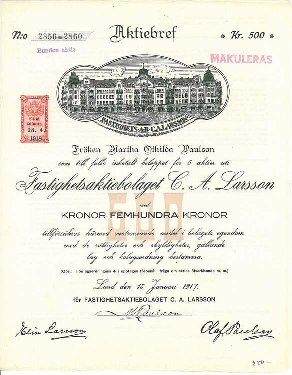 Fastighets AB C.A. Larsson, 500 kr