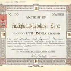 Fastighets AB Banco, 100 kr
