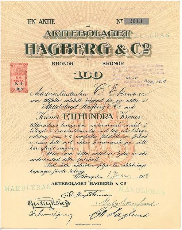 Hagberg & Co., AB, 100 kr