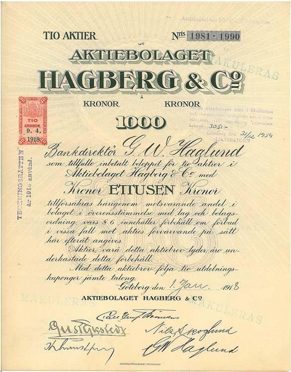 Hagberg & Co., AB, 1000 kr,