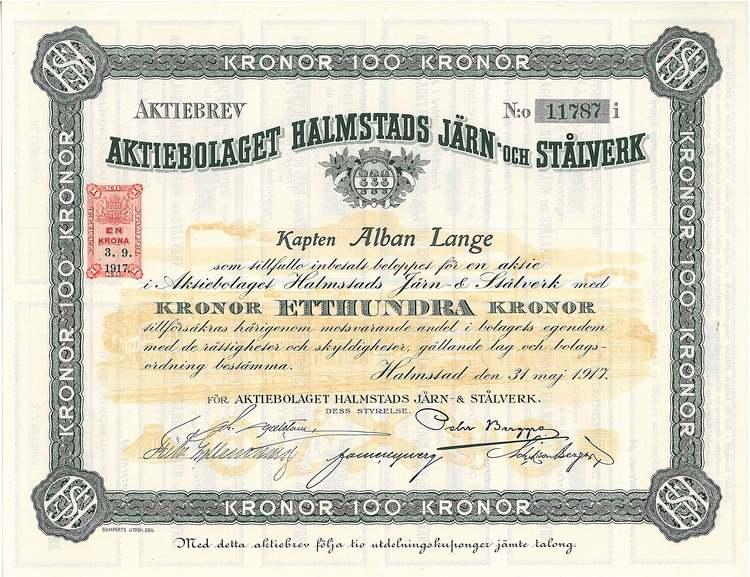 Halmstads Järn och Stålverk, AB, 100 kr