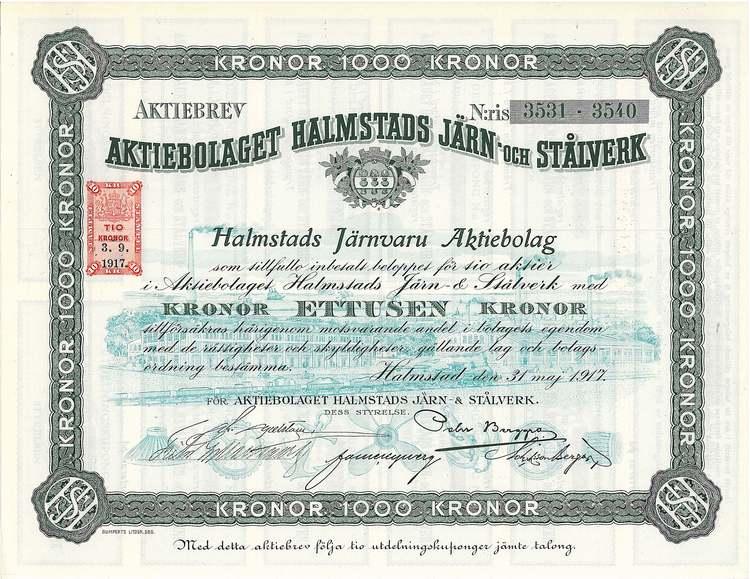 Halmstads Järn och Stålverk, AB, 500 kr