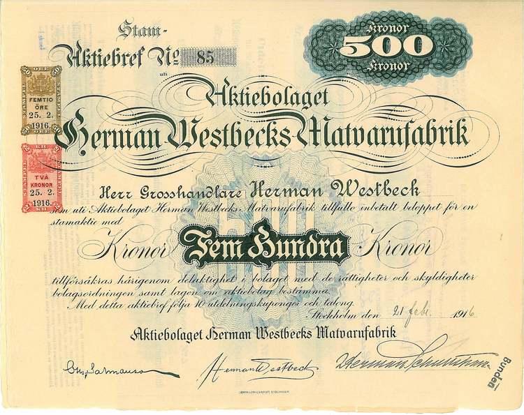 Herman Westbecks Matvarufabrik, AB