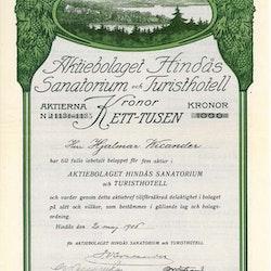 Hindås Sanatorium och Turisthotell, AB, 1000 kr