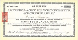 HJ. Wikvists Eftr. Snickerifabrik, AB