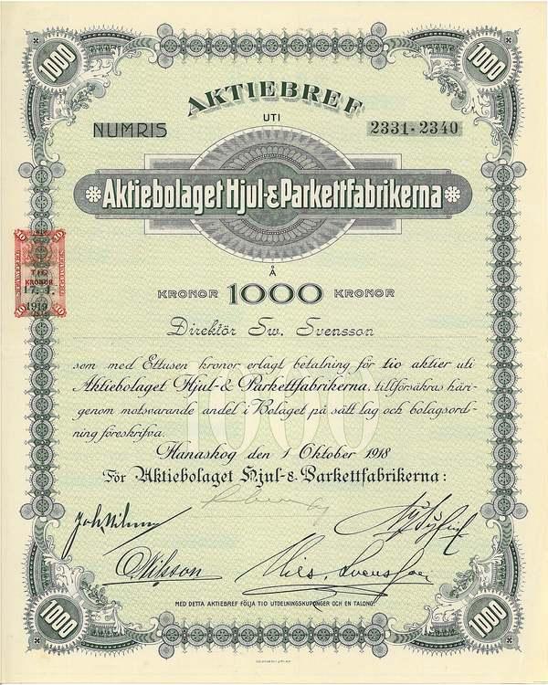 Hjul- & Parkettfabrikerna, AB, 1000 kr