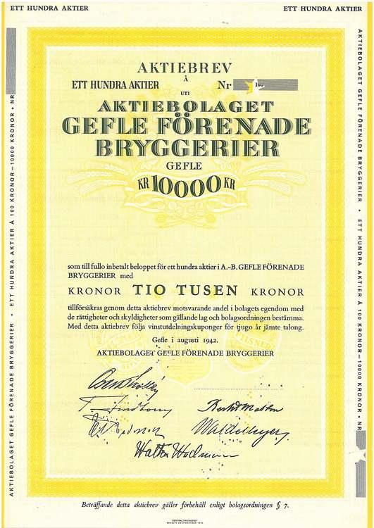 Gefle Förenade Bryggerier, 10 000 kr