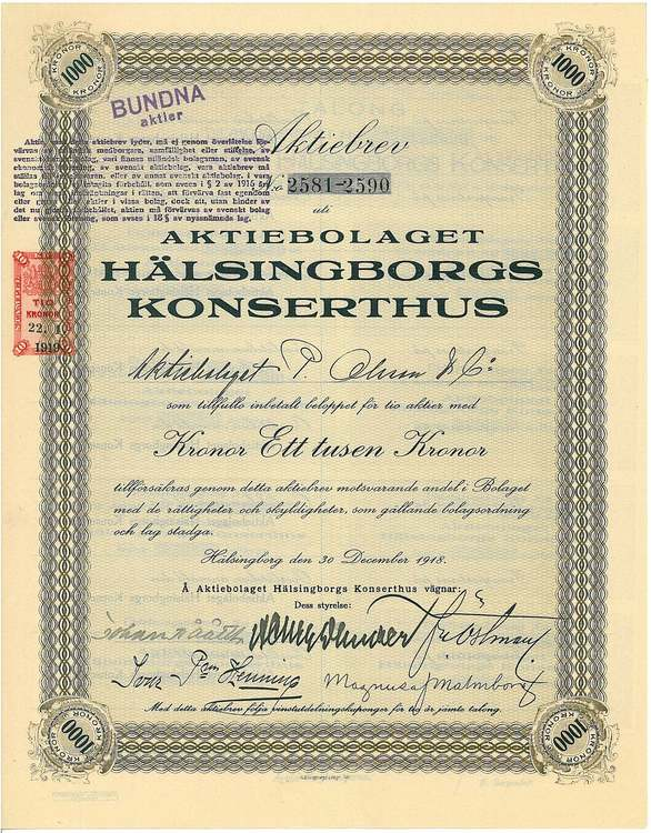Hälsingborgs Konserthus, AB, 1000 kr