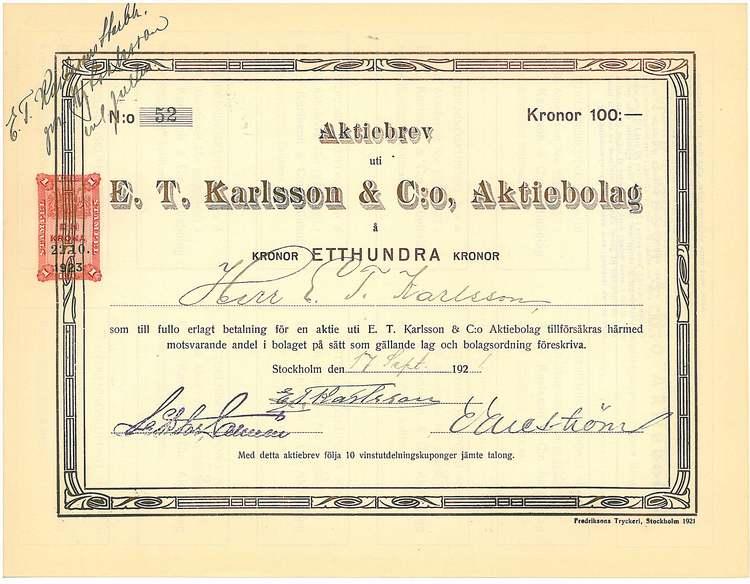 Karlsson & Co AB, E.T