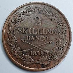 Karl XIV Johan 2 Skilling 1839