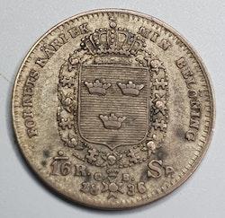 Karl XIV Johan 1/16 Riksdaler Specie 1836/5