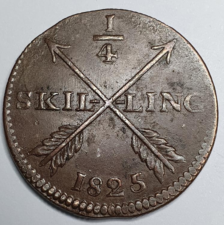 Karl XIV Johan 1/4 Skilling 1825