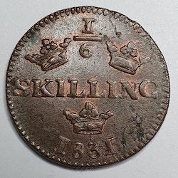 Karl XIV Johan 1/6 Skilling 1831