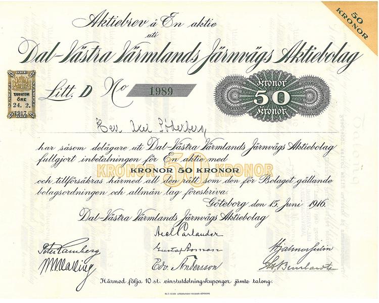 Dal-Västra Värmlands Järnvägs AB, 50 kr 1916