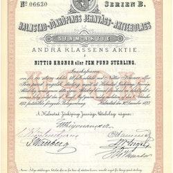 Halmstad-Bolmens Jernvägs AB, 90 kr, 1873