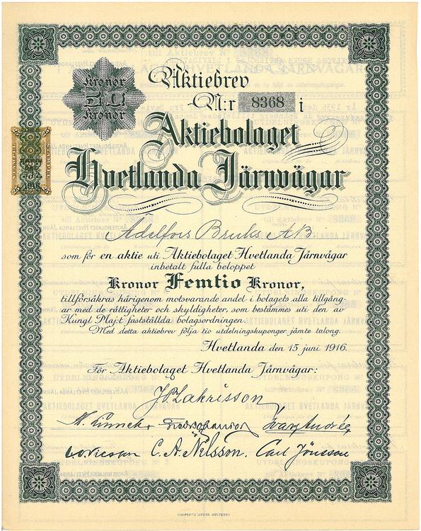 Hvetlanda Järnvägs AB, 50 kr, 1916