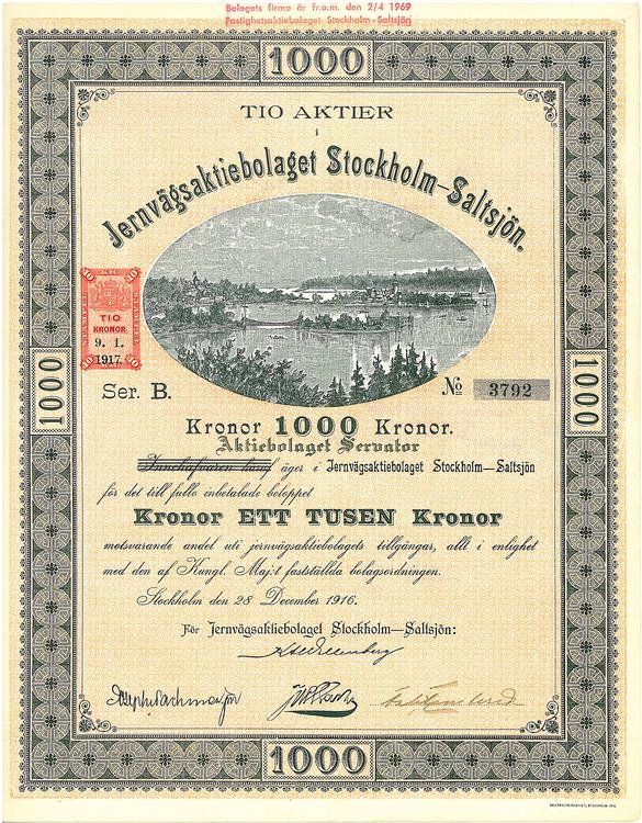 Jernvägs AB Stockholm-Saltsjö, 1 000 kr, 1916