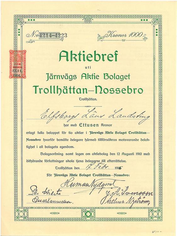 Järnvägs AB Trollhättans-Nossebro, 1000 kr, 1916