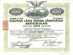 Kalmar Läns Östra Järnvägs AB, 100 kr, 1919