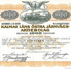 Kalmar Läns Östra Järnvägs AB, 1 000 kr, 1919
