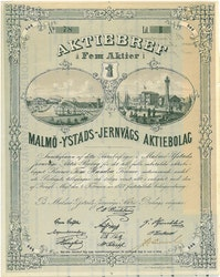 Malmö-Ystads Järnvägs AB, 500 kr, 1873