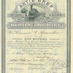 Markaryd Veinge Jernvägs AB, 100 kr, 1898