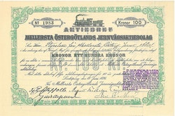 Mellersta Östergötlands Jernvägs AB, 100 kr, 1896