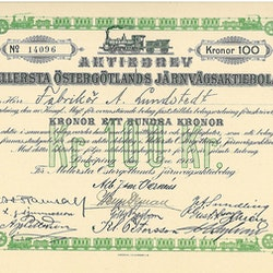 Mellersta Östergötlands Jernvägs AB, 100 kr, 1919