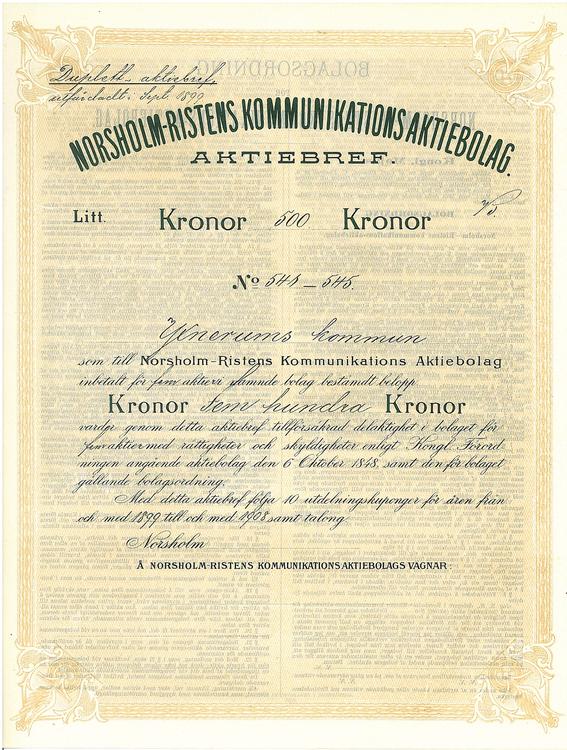 Norsholm-Ristens Kommunikations AB, 500 kr, 1899