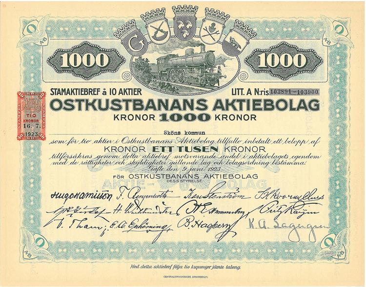 Oskustbanans AB, 1 000 kr, 1923