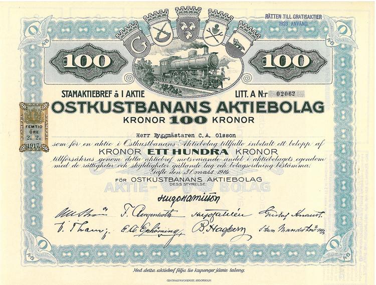 Oskustbanans AB, 100 kr, 1916