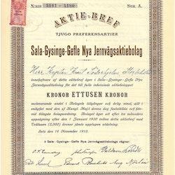Sala-Gysinge-Gefle Nya Jernvägs AB, 1 000 kr 1913