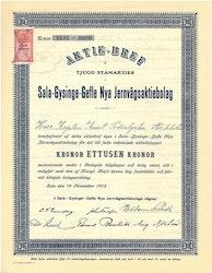 Sala-Gysinge-Gefle Nya Jernvägs AB, 1 000 kr, 1913