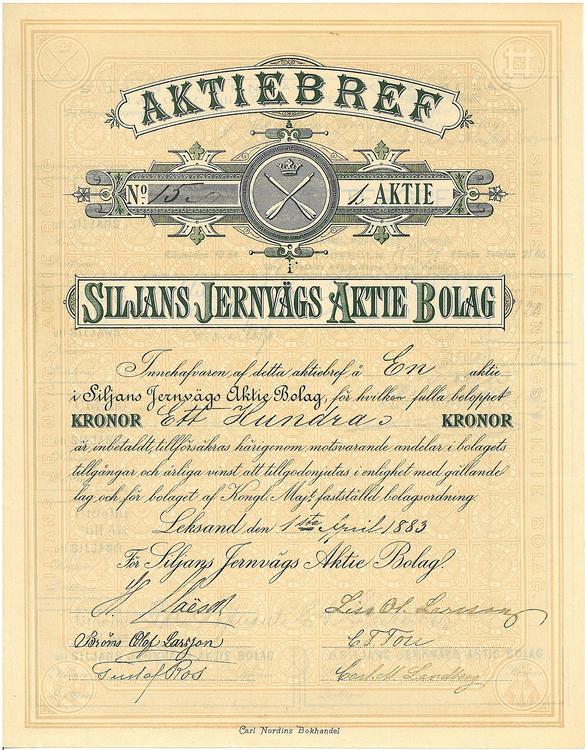 Siljans Jernvägs AB, 100 kr, 1883