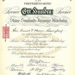 Skåne-Smålands Järnvägs AB, 100 kr, 1910