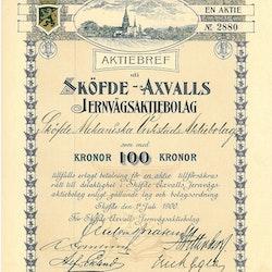 Sköfde-Axvalls Jernvägs AB 100 kr, 1900